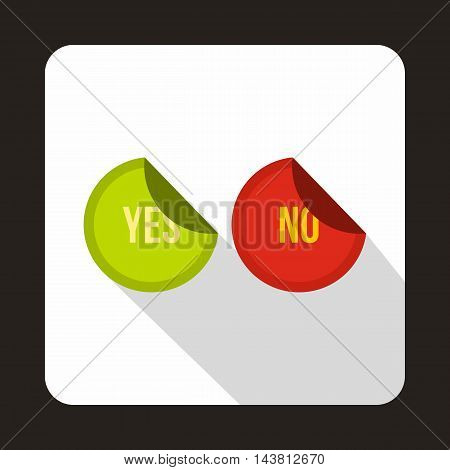 Yes and No sticker icon in flat style on a white background