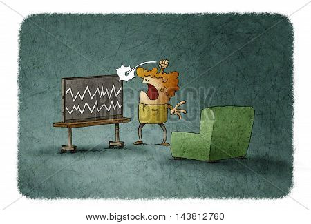 Illustration of angry man hitting TV with no signal and noise on screen