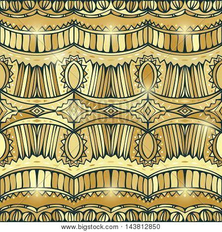 Golden Boho style seamless ornament. Ethnic pattern. Gold gamut. Glitter effect. Abstract tribal repeatable background. Vector illustration.