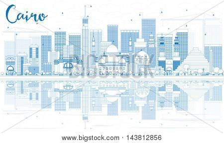 Outline Cairo Skyline with Blue Buildings and Reflections. Vector Illustration. Business Travel and Tourism Concept with Historic Buildings. Image for Presentation Banner Placard and Web Site.