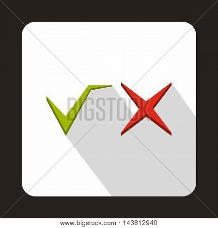 Tick and cross icon in flat style on a white background
