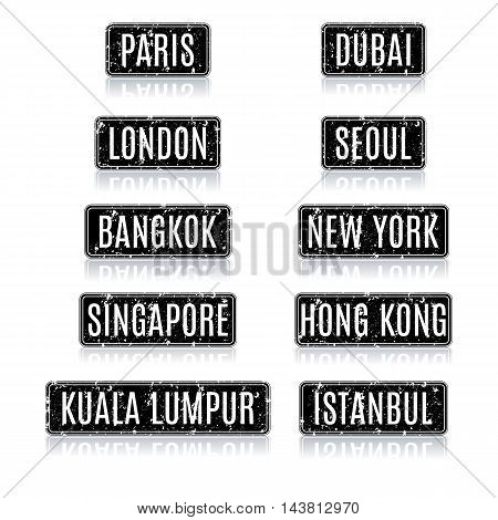 Set grunge square frames with the names of the most visited tourist cities in the world with a mirror reflection vector illustration.