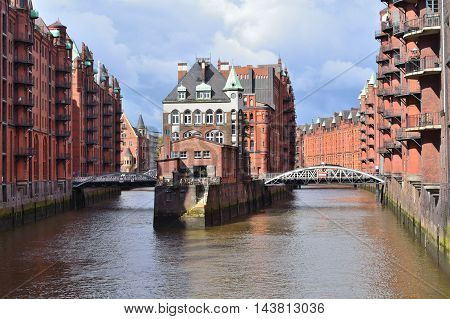 Hamburg Germany. Historic buildings in the Old town in a cloudy summer day