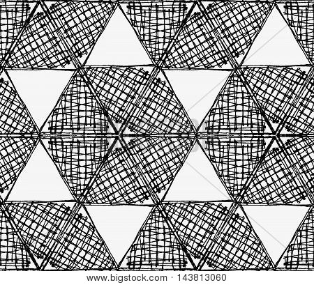 Black Marker Scribbled Hexagons In Row