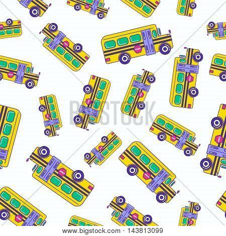 Bright Cartoon School Bus Seamless Pattern Design For Kids. Trendy Repetitive Print Of Schoolchildre