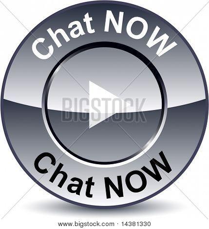 Chat now round metallic button. Vector.
