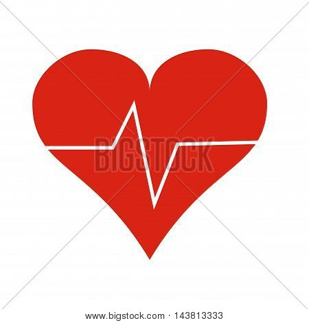 flat design heart cardiogram icon vector illustration