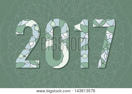 2017 Year Illustration Decorated With Abstract  Decorative Pattern In Grey Colors.