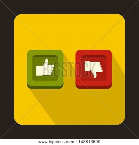 Thumbs up and down buttons icon in flat style on a yellow background
