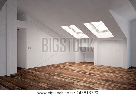 Empty room in attic with pitched roof and fir parquet flooring (3D Rendering)