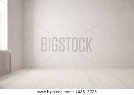 Wall in a bright empty room with parquet floor (3D Rendering)
