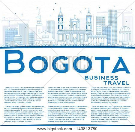 Outline Bogota Skyline with Blue Buildings and Copy Space. Vector Illustration. Business Travel and Tourism Concept with Historic Buildings. Image for Presentation Banner Placard and Web Site.