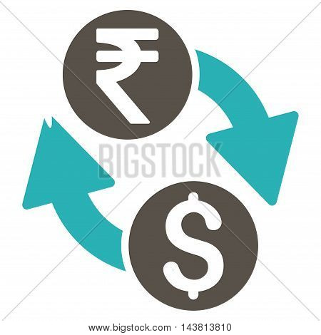 Dollar Rupee Exchange icon. Vector style is bicolor flat iconic symbol with rounded angles, grey and cyan colors, white background.