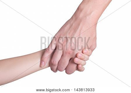 Woman and child hand . Isolated on white background with clipping path included