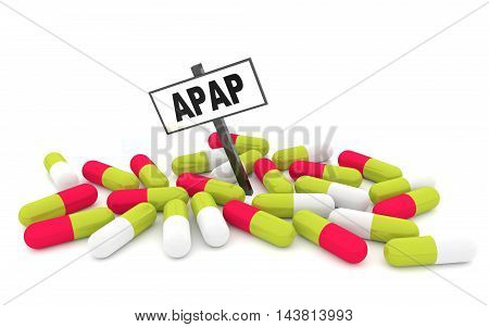 APAP pills concept with pills isolated on white background. 3D rendering