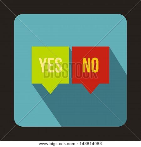 Check mark in speech bubbles icon in flat style on a baby blue background