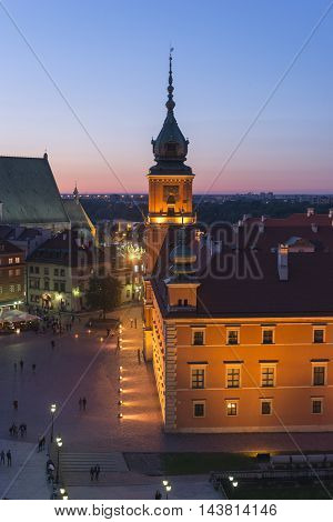 Warsaw Royal Castle illuminated by twilight time