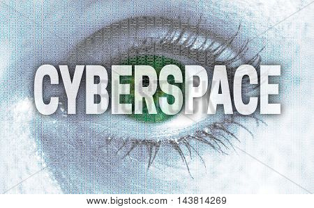 cyberspace eye looks at viewer concept background