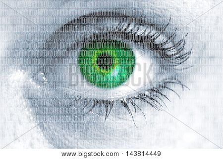 Matrix eye looks at viewer concept background