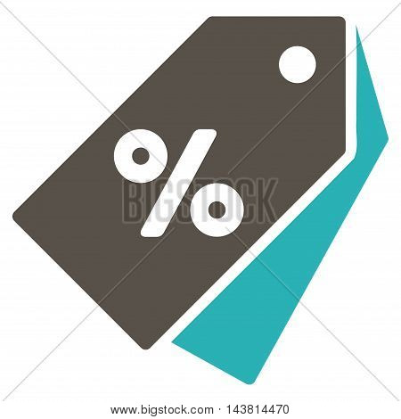 Percent Discount Tags icon. Vector style is bicolor flat iconic symbol with rounded angles, grey and cyan colors, white background.