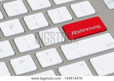 "German word ""Abstimmung"" (vote) on a computer keyboard (3D Rendering)"