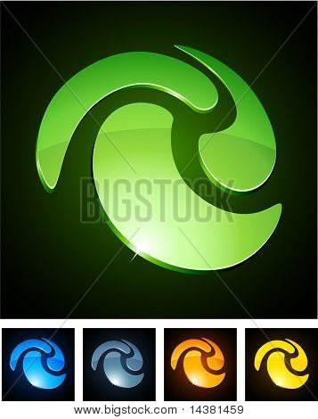 Windung 3d Vector Icon solche Logos.