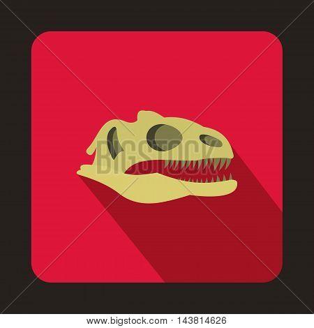 Dinosaur skull icon in flat style on a crimson background