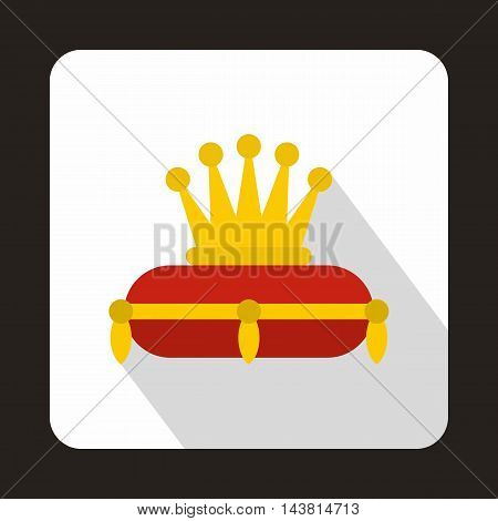Gold crown on red pillow icon in flat style on a white background