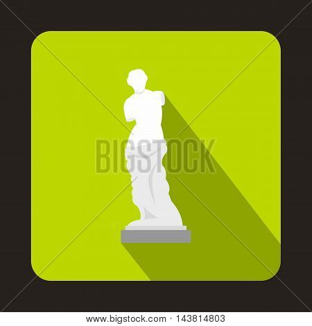 Statue of Venus de Milo icon in flat style on a green background