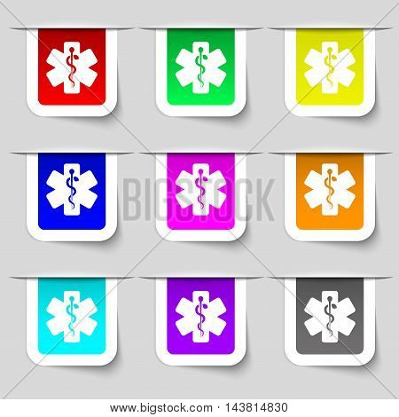 Medicine Icon Sign. Set Of Multicolored Modern Labels For Your Design. Vector