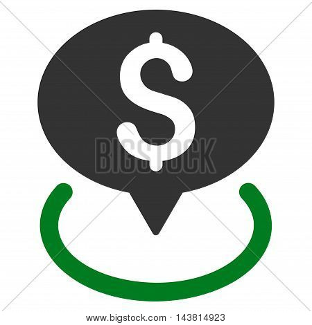 Bank Location icon. Vector style is bicolor flat iconic symbol with rounded angles, green and gray colors, white background.