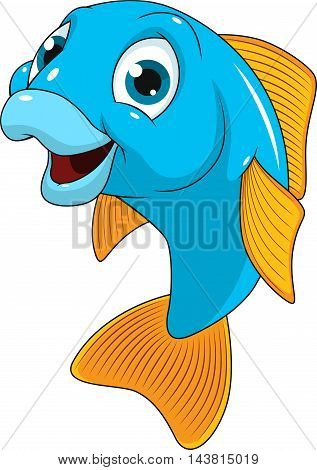 Vector illustration funny fish smiles on a white background.