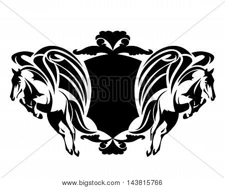 two flying pegasus with shield - black and white winged horses heraldic vector illustration
