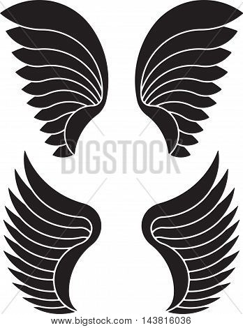 Two pair of black vector wings fo your design.
