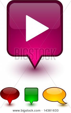 Play glossy speech vector icons.
