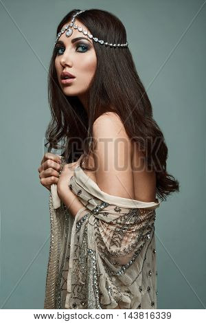 Beautiful Indian Style Brunette Young Woman