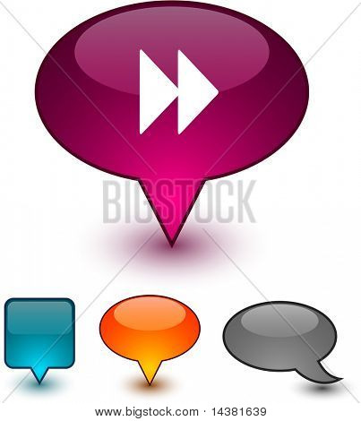 Forward glossy speech vector icons.
