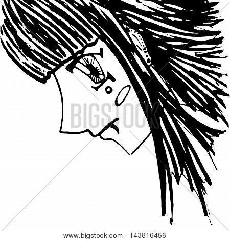 Monochrome girl with piercing portrait sketched art vector
