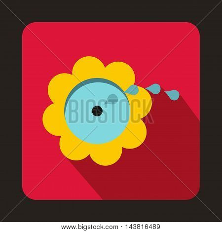 Flower spinkler icon in flat style on a crimson background