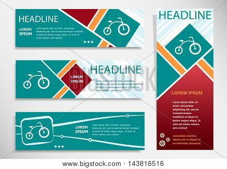 Bicycle Icon On Horizontal And Vertical Banner
