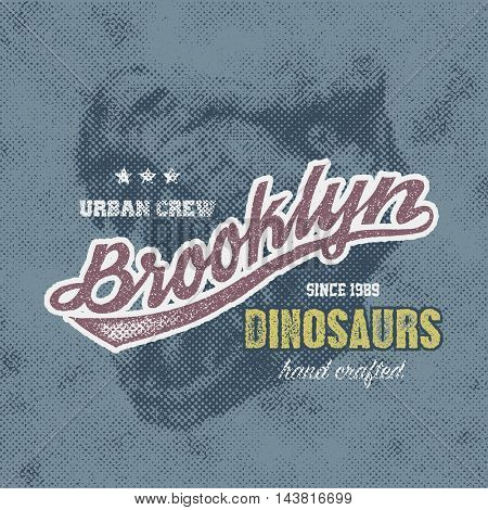 New York typography, t-shirt graphics with trex face, vector illustration