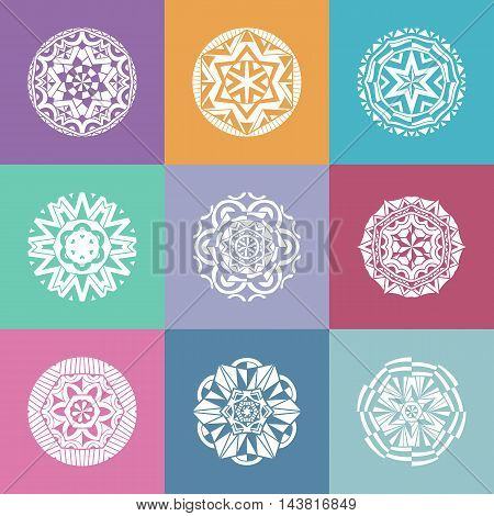 Collection of round Bohemian stamps. White decorative symbols at colored squares. Ornate elements ethnic pattern. Vector illustration.