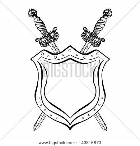 Vintage crossed swords and shield. Hipster style. Black and white design template for emblem. Vector illustration.