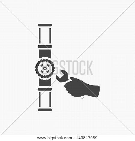Pipe icon black. Single silhouette plumbing symbol.