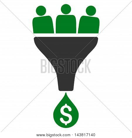 Sales Funnel icon. Vector style is bicolor flat iconic symbol with rounded angles, green and gray colors, white background.