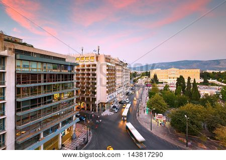 ATHENS, GREECE - AUGUST 22, 2016: Syntagma square and building of parliament in central Athens on August 22, 2016.