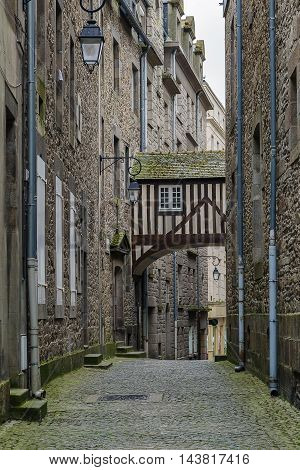 street in Saint-Malo historic center Brittany France