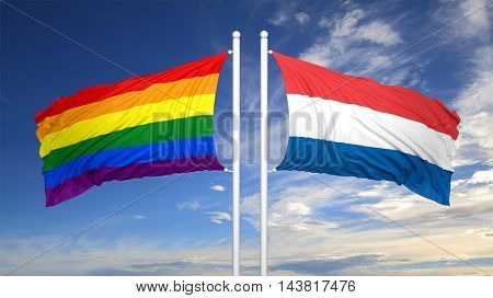 3d rendering rainbow colors flag with Netherlands flag