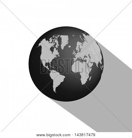 Earth globe with a long shadow