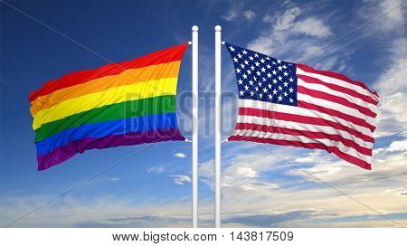 3d rendering rainbow colors flag with USA flag